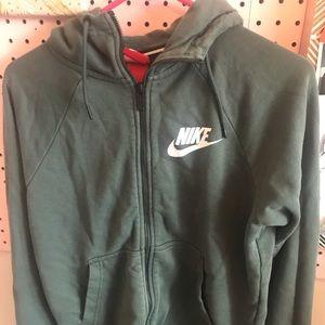 Green/blue nike zip up hoodie